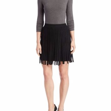 Chelsea & Theodore Women's Black Knit Fringe Skirt