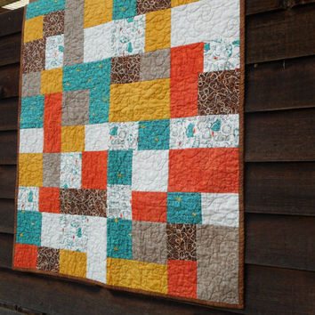 Cat Baby Quilt Turquoise Orange Yellow Brown, cat fish nursery bedding, patchwork cat quilt, handmade baby blanket, modern quilt for baby