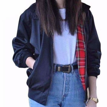 Fashion Stand Collar Plaid Full Sleeve Women Jackets