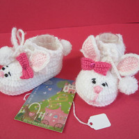 Crochet Bunny Booties. Snuggle bunny slippers.Crochet Rabbit Booties. Easter Bunny Booties. Bunny Baby shoes.READY TO SHIP