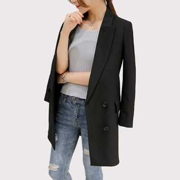 Blazer Feminino 2017 Long Women Blazers And Jackets Office Lady Style Double Breasted Long Sleeves Lady Suit