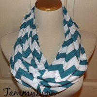 NEW!!  Teal Blue Biscay Blue Chevron Scarves Chevron Zig Zag Jersey Knit Infinity Scarf Scarves