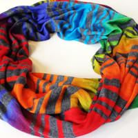 Vivid Rainbow Ombre Striped Infinity Scarf Womens Fall Fashion Accessories Fall Infinity Scarves Ombre Scarf