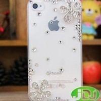 EVERMARKET(TM) Hot New Big Rhinestone Crystal Girl Women Apple Iphone5 Case 5s 5g Case Iphone 5 Case with Five Leaf Flower