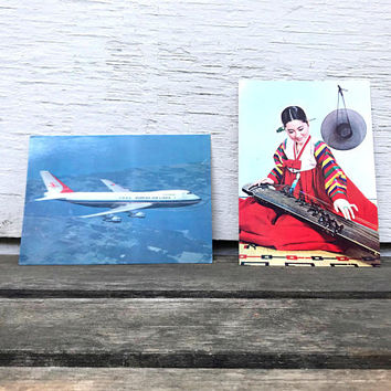 Set of 2 Vintage Korean Air Lines Postcards, Unused, Boeing 747 and Woman Playing Instrument, 1970s