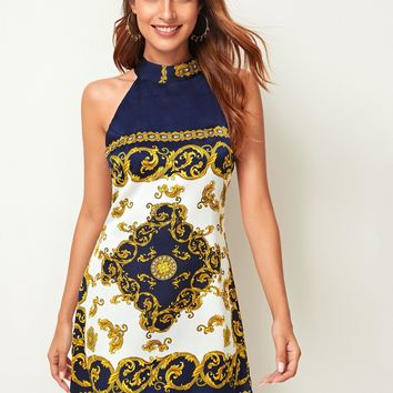 Baroque Print Tie Back Halter Neck Dress