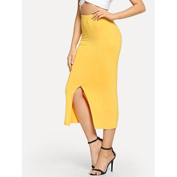 Yellow Split Hem Slim Fitted Skirt