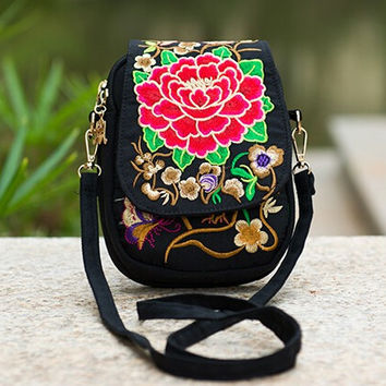Ethnic Boho Embroidered Vintage Red Flowers Canvas Beach Coin/Phone Bag