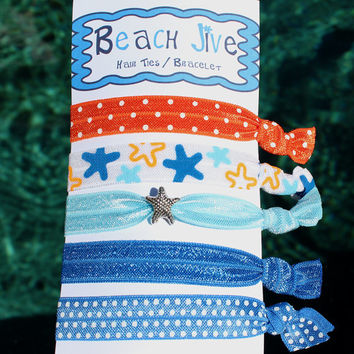FOE Hair Ties,  Assorted Pony Tail Holder with Starfish Charm  Beach Theme Summer Hair Accessory