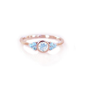 Rose Gold Rainbow Moonstone and Topaz La Mer Ring