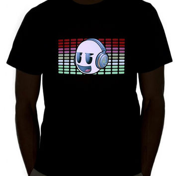 Loose Cotton T-shirts For Men Cool TopLights Sound Activated Light Up Rave Shirt