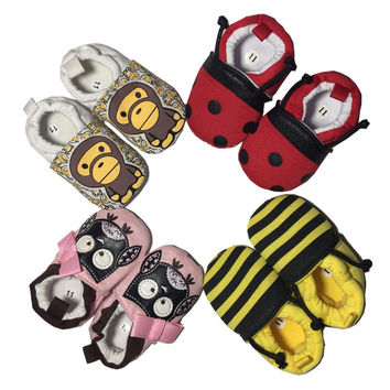 Soft Cartoon Baby Boys Girls Infant Shoes Slippers 0-6 6-12 New Style First Walkers Cotton Skid-Proof Kids Shoes