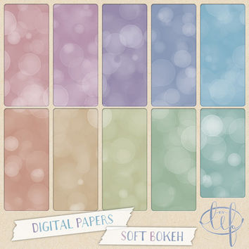 Bokeh Digital Paper Pack Pastel turquoise, teal, pink, purple, green, gold.Perfect for desktop n blog backgrounds Facebook n twitter headers