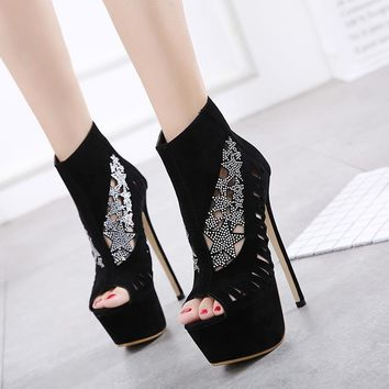 Lace Patchwork Hollow Out Peep Toe Super High Stiletto Heels Short Boot Sandals