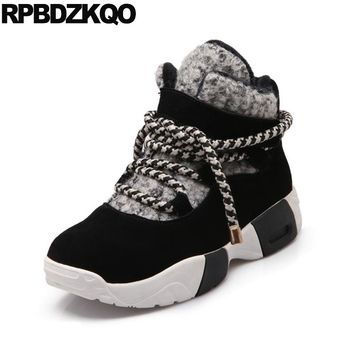 Size 41 Casual Round Toe 9 Black Patchwork Flat Sneakers Booties Big Lace Up Snow Ankle Women Boots Winter 2017 Suede Shoes Fur
