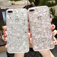 Luxury Shining Platinum Marble Transparent Phone Case