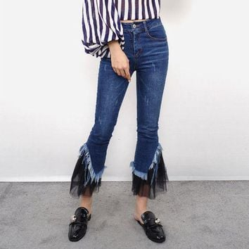 ESBON All-match Fashion Casual Tassel Gauze Stitching Jeans Flares Pants Trousers