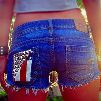 Vintage low rise studded denim shorts,American flag  shorts by Jeansonly