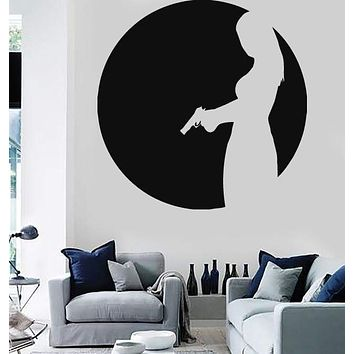 Wall Stickers Vinyl Decal Sexy Girl with Gun Mafia Spy Agent CIA (ig858)