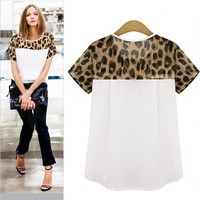 2016 New Regular Fashion Sexy Hot Selling Women Leopard Printing Chiffon Tops Cropped T-shirt