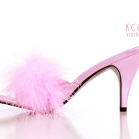 Marabou Feather Sandals Pink Stilettos Bedroom Boudoir Pumps 80s Vintage Shoes Women's Size US 6.5