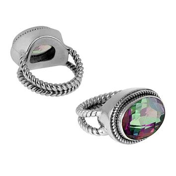 "SR-5351-MT-7"" Sterling Silver Ring With Mystic Quartz"
