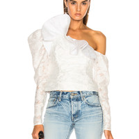 self-portrait Floral Fil Coupe Ruffle Top in White | FWRD