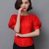 Red Crochet Flower Lace Chiffon Blouses 2016 Summer Women Lady Female Fashion O-neck Iantern Sleeve Back Zip Shirts Blusas Tops