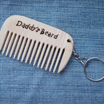 Keychain Comb, Personalized Wooden Comb, Daddy's beard, Pocket Comb, Beard Comb, Moustache comb, custom wood comb, Wood Burning, Dad Gift