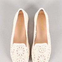 Liliana Mendel-65 Crochet Round Toe Loafer Flat