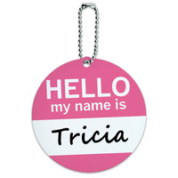 Tricia Hello My Name Is Round ID Card Luggage Tag