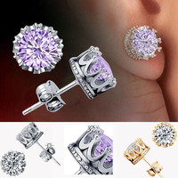 New Charm Women Elegant 925 Sterling Silver Rhinestone Crown Ear Stud Earrings = 1958391556