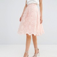 Chi Chi Petite | Chi Chi London Petite Premium Lace Full Prom Midi Skirt at ASOS