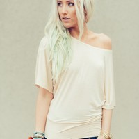 Off-The-Shoulder Beige Dolman Tee