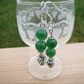 Christmas Earrings, Pinecone Earrings, Christmas Tree Earrings,Festive Earrings,Green beaded Earrings, Free Shipping
