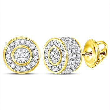 10kt Yellow Gold Women's Round Diamond 3D Circle Cluster Stud Earrings 5-8 Cttw - FREE Shipping (US/CAN)
