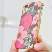 Apple iphone case for iphone iPhone 5 iphone 4 iphone 4s iphone 3Gs : Classic vintage pink floral with golden painting