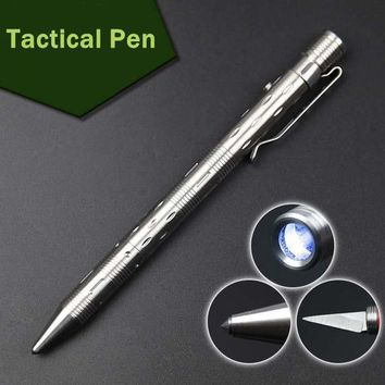 Portable Stainless steel Tactical Pen With LED light Outdoor Multi-functional self defense supplies edc tools Knife removable