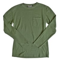 7oz Long Sleeve Baja Pocket Tee - Grass Green