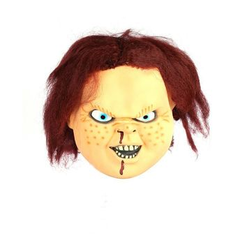 Scary CHUCKY latex Mask Full Face Creepy Horror Masquerade Adult Ghost Movie Halloween Costumes Fancy Dress Cosplay Party Props