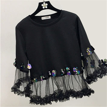 2017 Fashion New Three Quarter Sleeve T-shirts Plus Size Female t shirts Patchwork Lace Sequined Tops O-neck Women tshirts 72540