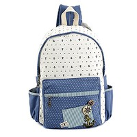MapleClan Nautical Boat Anchor Dotted Rucksack Canvas Backpack Blue