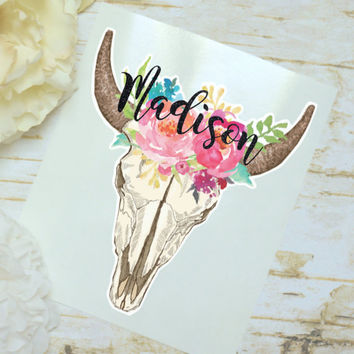 Steer Skull Floral Monogram Decal, Watercolor Flowers, Cow Skull, Bull Skull, Tumbler Decal