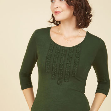 Chic Composition Ruffled Top in Basil | Mod Retro Vintage Short Sleeve Shirts | ModCloth.com