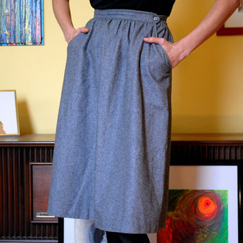 Vintage Skirt Women's Fall Fashion Fitted Waist Knee length Grey Skirt with Pockets