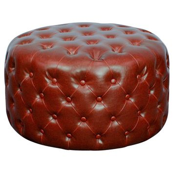 Santee Bonded Leather Round Tufted Ottoman VINTAGE RED