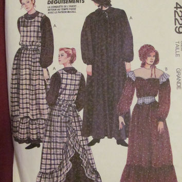 Uncut 1980's McCall's Sewing Pattern, 4229! Size Large, Women's/Misses Halloween/Play Costumes/Westward Prairie/Historical/Centennial