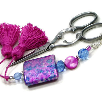 Beaded Scissor Fob, Cross Stitch, Needlepoint, Blue, Fuchsia Pink, DIY Crafts, Gift for Crafter, Sewing Accessory, Quilting