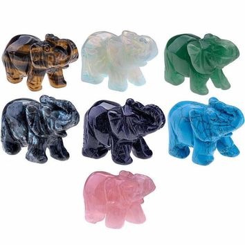 Gemstone Carved Elephant Figurine