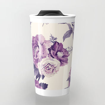 Purple floral boho pattern Travel Mug by printapix